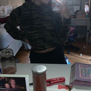 Cropped teddy camo hoodie